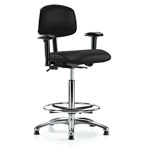 Swivel Multi Task (PERCH Chrome Multi Task Swivel Chair with Foot Ring and Stationary Caps, Counter Height, Black Vinyl)
