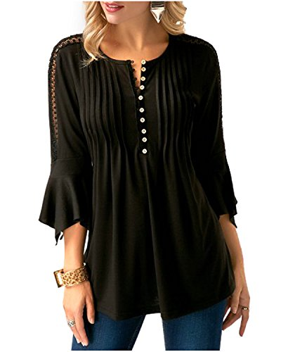 Sleeve Split Neck Tunic (Softcloudy Women' s Casual Loose Henley V Neck Pleated Bell Sleeve Shirt Tunic Top Black XL)
