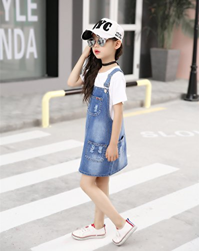 Kidscool Girls 5 Round Ripped Bibs Jeans Overalls Dress,Light Blue,6-7 Years by Kidscool (Image #2)