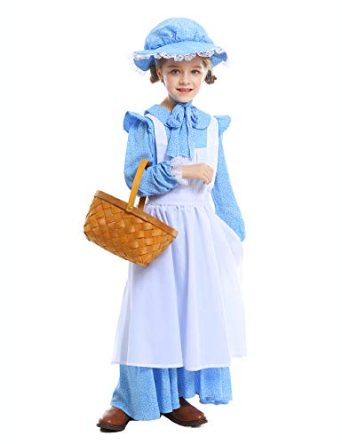 CASABACO Girl Anime Cosplay Costume Apron Maid Dress Halloween Christmas Theater School Festival Performance Prairie Farmyard, M Blue -