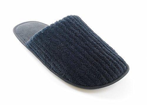 Slumberz Hombre Acanalado Tejido Rizo Zapatos Sin Talón Espalda Abierta Pantuflas Negro
