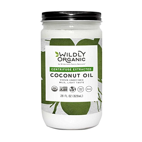 Centrifuge Extracted Organic Coconut Oil - Virgin Unrefined (Same as Extra Virgin), Raw, Non-GMO, Vegan, Glass Jar, Wildly Organic - 28 FL OZ