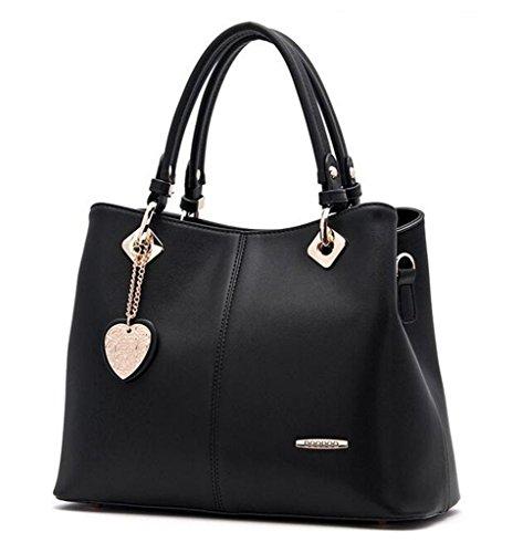 Bagtopia Women's Fashion Leather Top-handle Handbags and Purses OL Casual Tote Crossbody Shoulder Bag Satchel Purse (5028 Black)