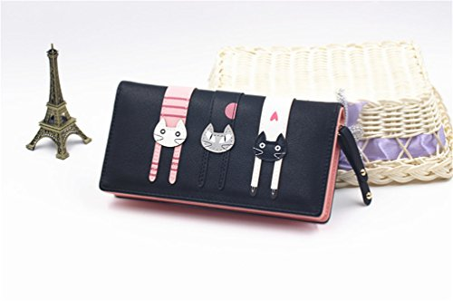 Small Envelope Purse Card Holder Simple Leather LIZHIGU Wallet 4200 Black Clutch Women 01q5BB