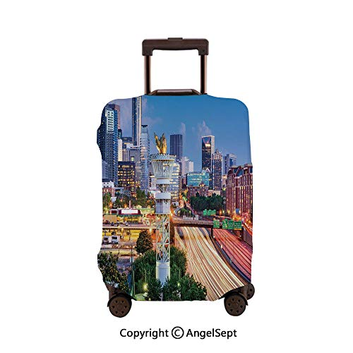 Luggage Cover Suitcase Protector,Atlanta Georgia Urban Busy Town with Skyscrapers City Landscape Light Blue Yellow Coral,26x37.8inches,Stretchy Dustproof Travel Protector Cover