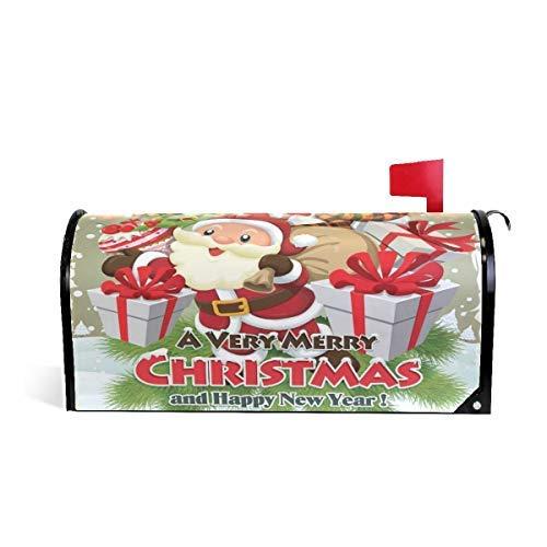 Tollyee Vintage Christmas Santa Snoman Deer Magnetic Mailbox Cover Magnetic Mailbox Cover 9