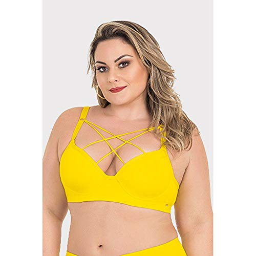 Sutiã Strappy Plus Size Amarelo-46