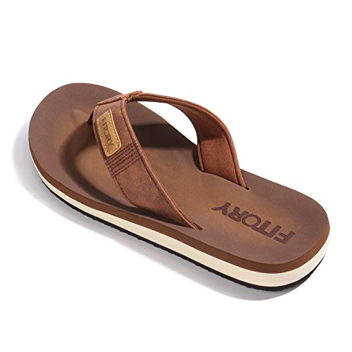 FITORY Men's Flip-Flop Thong Sandals (11 D(M) US, (Brown Flip Flop)