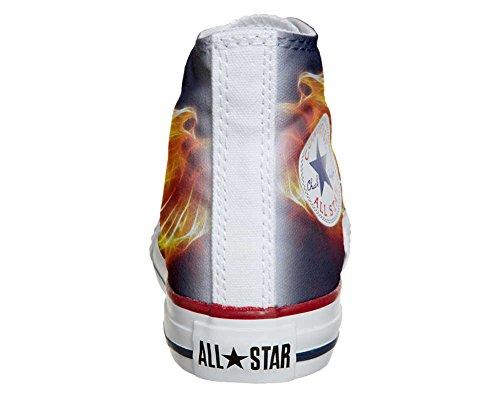 Converse All Star Hi Personnalisé et Imprimés chaussures coutume, Sneaker Unisex (produit Italien artisanal) Fire