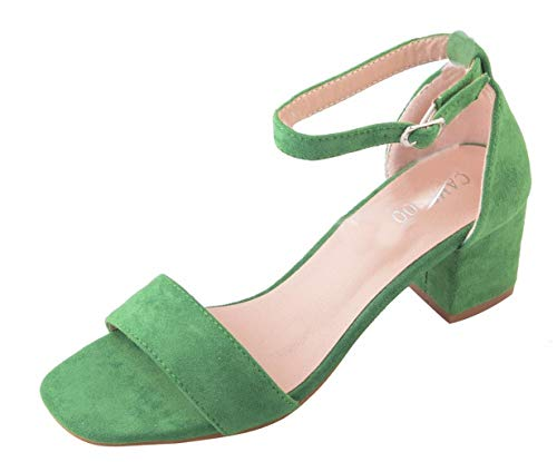 CAMSSOO Women's Chunk Low Heeled Pump Sandals with Sexy Open Toe Ankle Strap Green Velveteen Size US11.5 EU43 ()