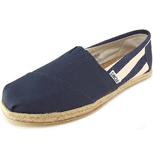Navy Stripe Blue Shoe Flat (TOMS Women's 10005419 Navy Stripe University Alpargata Flat, 10 M US)