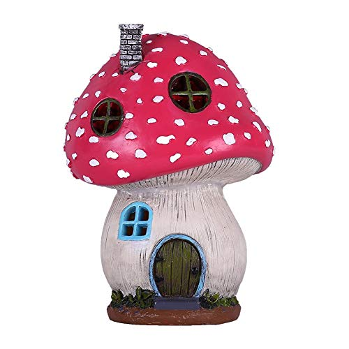 Teresa's Collections Mushroom Fairy Garden House Statue Accessories with Solar Light,Fairy Garden Cottage Figurines Sculptures for Outdoor Decoration (Resin) ()