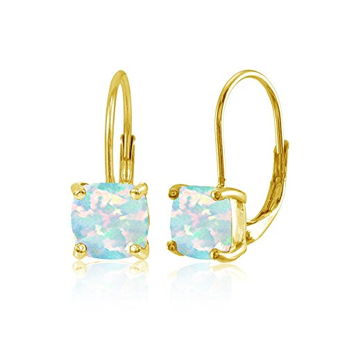Yellow Gold Flashed Sterling Silver Simulated White Opal 7x7mm Cushion-Cut Leverback Earrings Cushion Cut Opal Ring