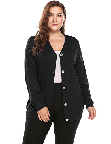 Plus Size Womens Button Down Knit Cardigan Long Sleeve Casual Knitwears Sweater