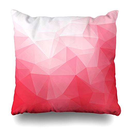 Ahawoso Decorative Throw Pillow Cover Mosaic Bright Red Polygonal Creative Graphic Abstract Counter Diamond Digital Effect Design Floor Home Decor Zippered Square Size 20