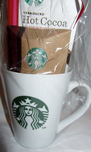 Starbucks Green Logo Mug Gift Pack with Starbucks Peppermint Cocoa + Chocolate Chip Cookie
