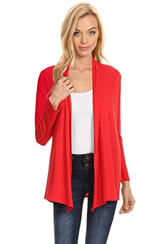 (Red Open Cardigan Sweater for Women, Red, Small)
