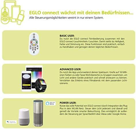 EGLO connect LED Pendelleuchte Moneva-C, 1 flammige Hängelampe, Hängeleuchte aus Stahl und Kunststoff in Nickel-Matt, weiß mit Farbtemperaturwechsel (warm, neutral, kalt), RGB, dimmbar, Ø 48,5 cm