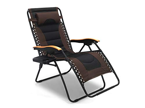 LUCKYBERRY Deluxe Oversized Padded Zero Gravity Chair XL Black&Brown Lounge Patio Chairs Outdoor Yard Beach by LUCKYBERRY