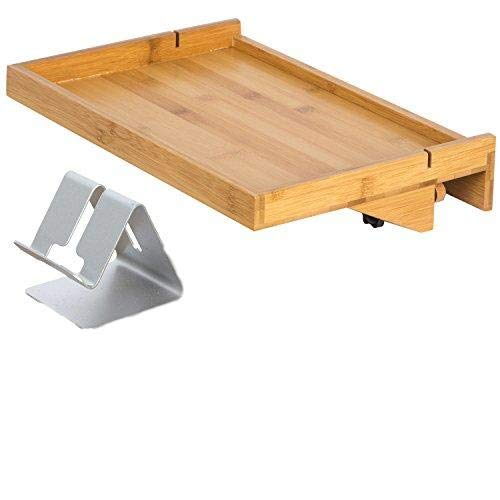 LifeSmart Bamboo Lacquered Bed Shelf with Bonus Phone Stand