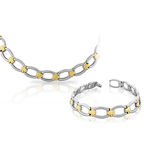 (EDFORCE Stainless Steel Two-Tone Chain Necklace Bracelet Set)