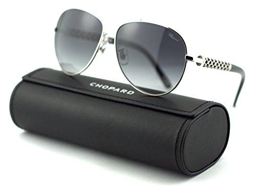 Chopard Woman Frames (Chopard SCH B66S Women Aviator Sunglasses (Shiny Palladium Frame/Smoke Gradient Lenses 0579))