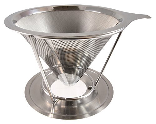 stainless steel pour over coffee maker filter cone and holder micro filter coffee dripper and. Black Bedroom Furniture Sets. Home Design Ideas