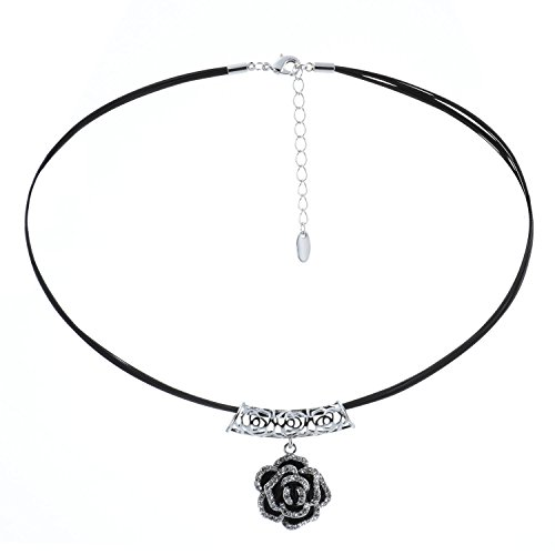 Morenitor[TM]Choker Necklace Rose Pendant with Leather Rope Chain Necklace. - 16
