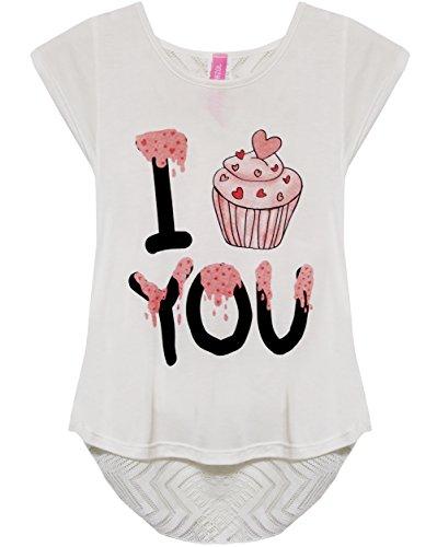BASICO Girl's USA Short Sleeve T Shirts Graphic Printed Tees (Medium, Cupcake)
