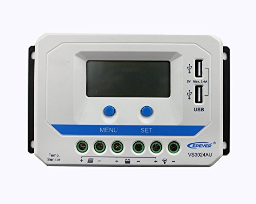 EPEVER® PWM VS-AU Serie Laderegler charge controller mit LCD Dispaly USB Anschluss