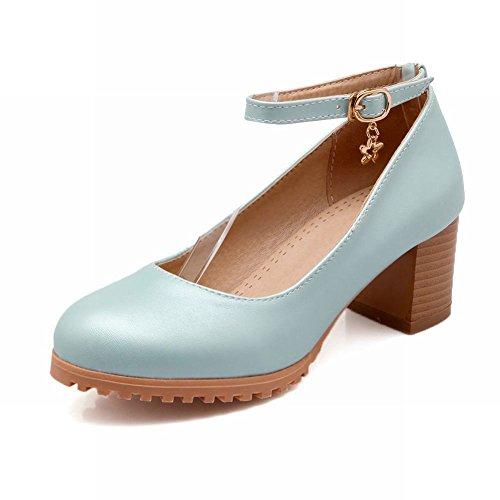 Latasa Jolies Bottines Chunky Mi-talon Pompes Chaussures Bleu