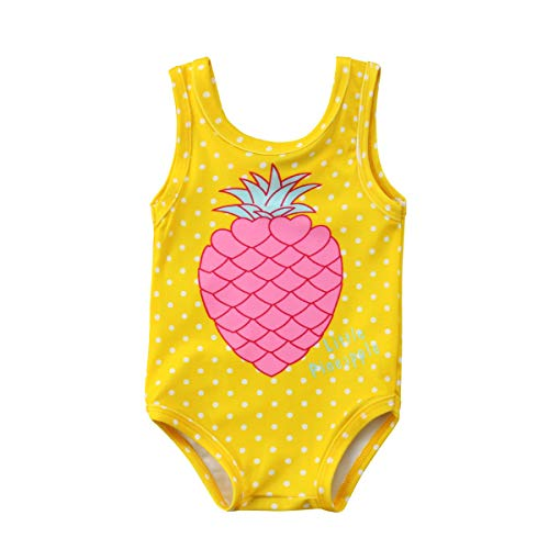 - Mini honey Infant Toddler Baby Girls One-Piece Swimsuit Pineapple Printed Backless Halter Swimwear for Beach (6-12 Months, Yellow)