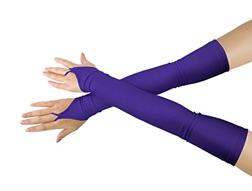 Shinningstar Girls' Boys' Adults' Stretchy Lycra Fingerless Over Elbow Cosplay Catsuit Opera Long Gloves (Dark Purple) -