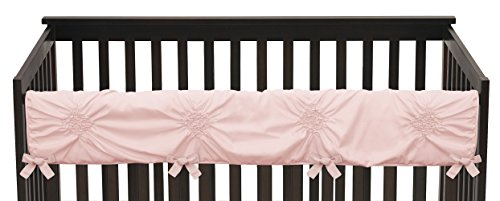 (Solid Color Blush Pink Shabby Chic Long Front Crib Rail Guard Baby Teething Cover Protector Wrap for Harper Collection by Sweet Jojo)