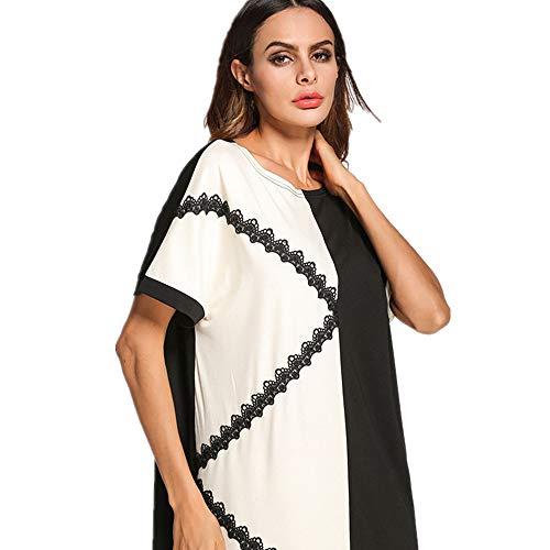 A dimensione Elegante Musulmana orientale Cvbndfe Donna Lunga Abito Con Comodo Colore Mosaico Xl Gonna Medio Rotondo Da Collo CwO1pqC