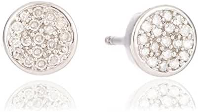 Solid Pave Diamond Disc Posts in Sterling Silver