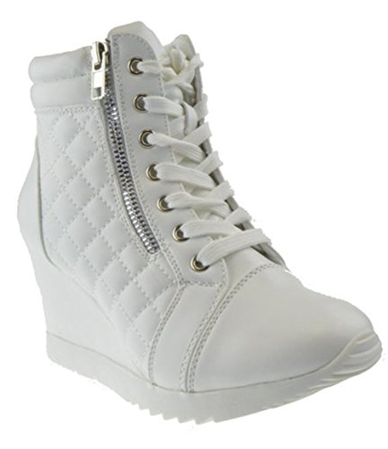 Adriana 12 Womens Lace Up Quilted High Top Wedge Sneaker White 8.5