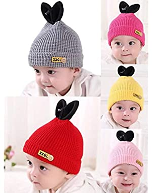 Baby Hat Cute Rabbit Ears Cartoon Knitted Beanie Thick Warm for Winter