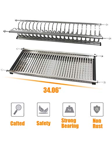 (Kitchen Hardware Collection 2 Tier Cabinet Dish Drying Rack Stainless Steel 34.06 Inch Length 32 Dish Slots Kitchen Plate Bowl Utensils Cups Draining Rack Organizer with Drainboard)