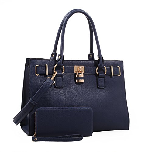 Emperia Dina Womens Concealed Carry Lock and Key Satchel Satchel with Matching Wallet Navy ()