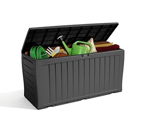Grey Keter Wood Effect Plastic Garden Storage Box.