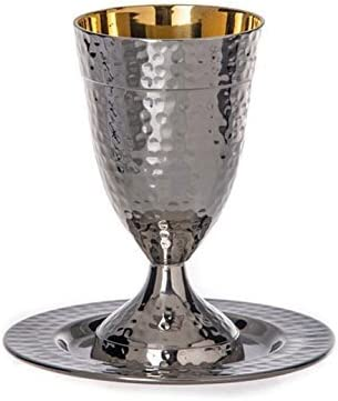 Amazon Com Stainless Steel Kiddush Cup On Base With Tray Hammered Design Home Kitchen