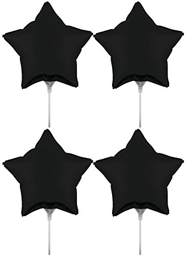 """Set of 4 Foil Air Filled Balloons! Helium Free - Sticks and Joiner - Stars - Unique Themes - Party Balloons and Birthday Balloons Perfect for any Party Decoration! (4ct Black Velvet 18"""")"""