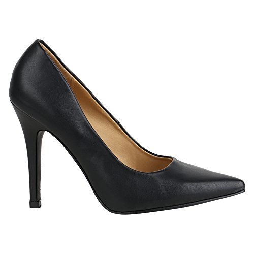 Stiefelparadies Spitze Damen Pumps Stiletto High Heels Lack Leder-Optik Schuhe Elegante Absatzschuhe Party Abendschuhe Abiball Flandell Schwarz Glatt