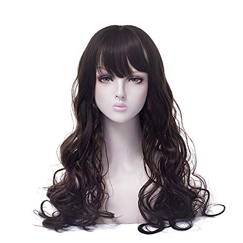 Synthetic Brown Wig for Women Girls with Bangs Wig Cap Natural Wave Long Curly Heat Resistant Synthetic Cosplay Hair - Bangs Synthetic Layers Wig