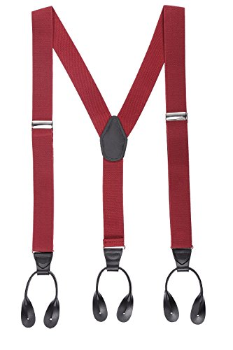 Suspenders for Men, 49'' Y-Back Adjustable Elastic Button End Suspenders for Formal&Wedding(Wine Red) by G&C
