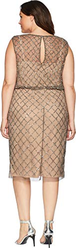 Nude Adrianna Cocktail Classy Skirt Lead Subtle Ruffle Dress Beaded Papell Women's with qTqH4rP1