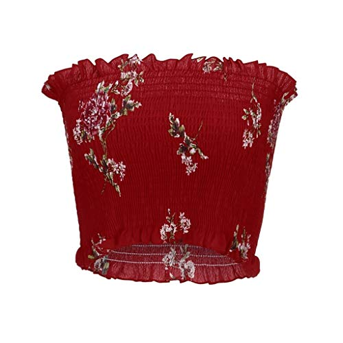 LAODIA Women Sleeveless Vest Off Shoulder Print Tanks Top T Shirt Ladies Blouse (Red, M)]()