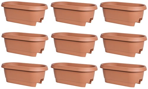 Fiskars 477241-1001 24'' Terra Cotta Deck / Patio Rail Planters - Quantity 9 by Fiskars