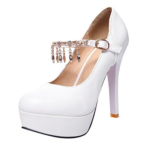 Mee Shoes Damen high heels ankle strap Schnalle Pumps Weiß